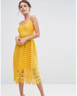 Lace Midi Dress With Cutwork Hem