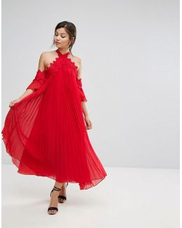 Pleated Swing Dress With Cold Shoulder Detail