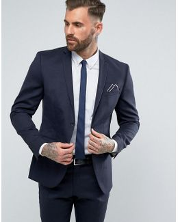 Slim Suit Jacket In Wool Mix With Stretch Lining