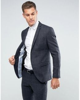 Slim Suit Jacket In Wool Mix With Grid Check