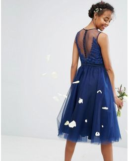 Embroidered Tulle Midi Dress With Button Back