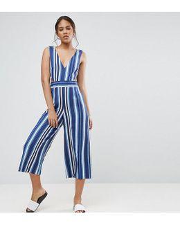 Cut Out Side Jumpsuit In Stripe