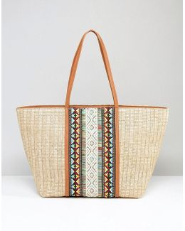 Asenawia Embroidered Straw Bag