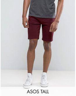 Tall Jersey Skinny Shorts In Burgundy