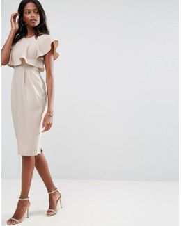 Double Layer Wiggle Dress With Cut Outs And Angel Sleeve