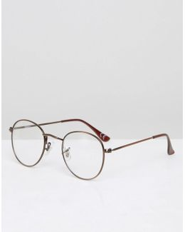 Round Clear Lens Sunglasses With Burnished Copper Frame