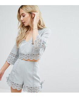 Miss Selfridge Crochet Lace Trim Crop Top