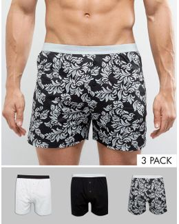 Jersey Boxer In Baroque Print 3 Pack Save