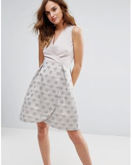 2 In 1 Prom Dress With Polka Dot Jaquard