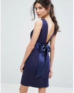Bow Back Midi Dress With Wrap Skirt