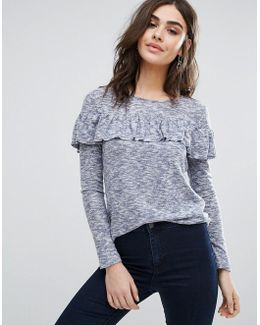 Long Sleeve Sweater With Frill Overlay