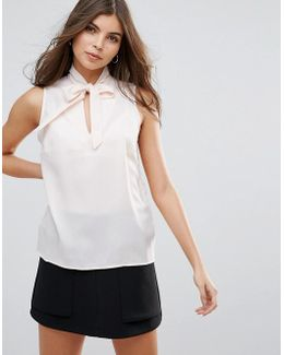 Sleeveless Top With Tie Front