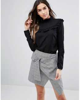 High Neck Blouse With Frill Detail