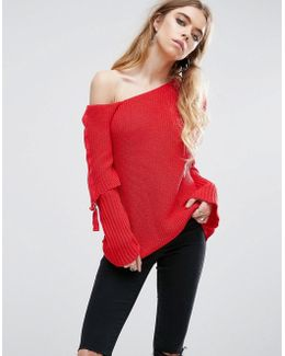 Chunky Sweater With Off Shoulder And D Ring