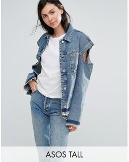 Denim Deconstructed Jacket With Cold Shoulder