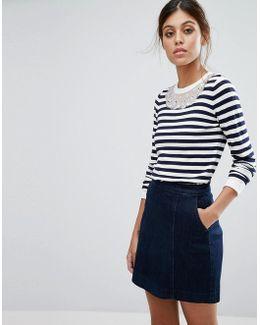 Embellished Stripe Knit Jumper