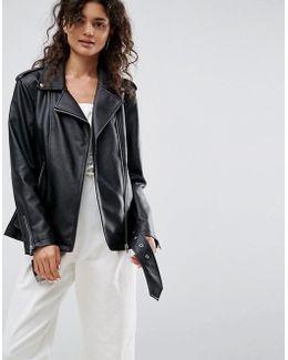 Longline Biker Jacket In Faux Leather