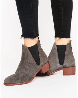 H By Hudson Mid Heel Suede Chelsea Boot