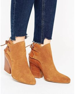 H By Hudson Suede Leather Tieback Heel Boot