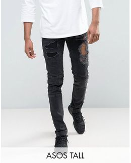 Tall Skinny Jeans With Biker Zip And Rips Details In Washed Black