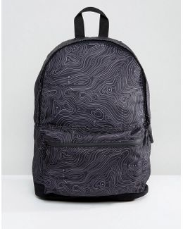 Backpack With Contour Print In Black