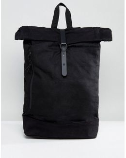 Roll Top Backpack In Sleek Black With Internal Laptop Pouch