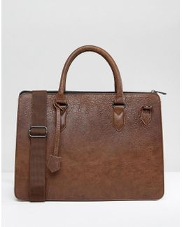 Briefcase In Brown Faux Leather