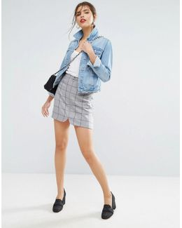 A Line Mini Skirt With Circle Zip Pull In Check