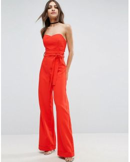 Bandeau Jumpsuit With Paperbag Waist Detail