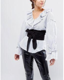 Black Fabric Obi Belt
