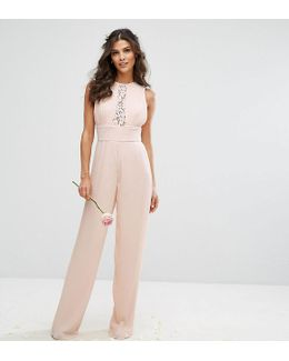 Wedding Pleated Wide Leg Jumpsuit With Lace Insert