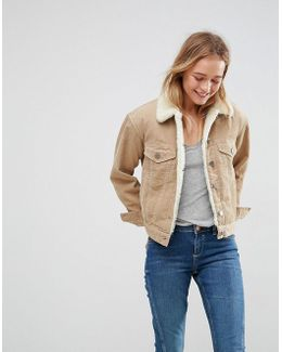 Cord Jacket With Borg Collar In Stone
