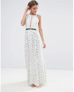Printed Maxi Dress With Eyelet Detail Waist