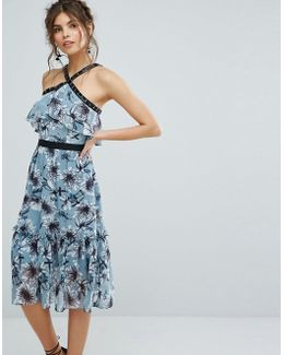 Floral Midi Dress With Peplum Hem And Eyelet Detail
