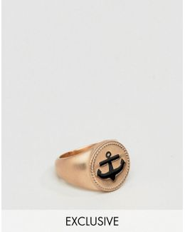 Anchor Signet Ring In Rose Gold Exclusive To Asos