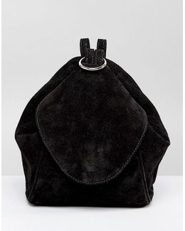 Suede Minimal Backpack With Ring Pull Detail