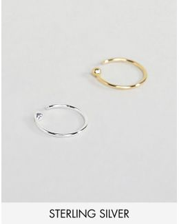 Sterling Silver Pack 2 Of Fine Wire Hoop Nose Rings