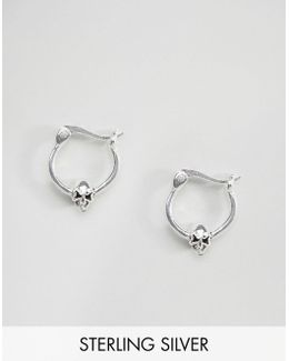 Sterling Silver Mini Skull 10mm Hoop Earrings