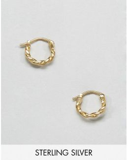 Gold Plated Sterling Silver Vintage 10mm Hoop Earrings