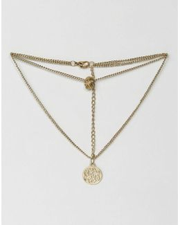Multirow Filigree Disc & Charms Necklace
