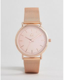 Rose Gold Clean Mesh Strap Watch
