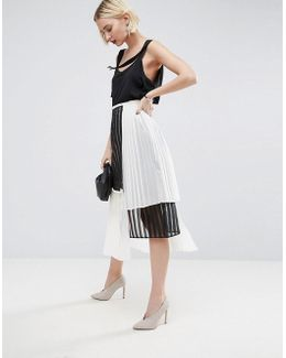 Multi Layer Pleated Midi Skirt