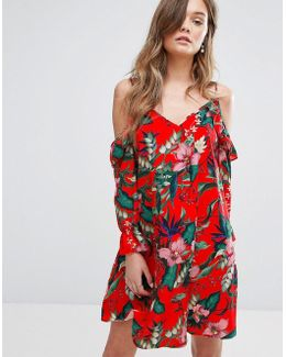 Printed Cold Shoulder Smock Dress