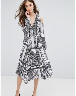 Cold Shoulder Patchwork Print Midi Dress