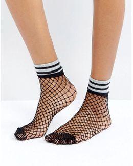 Fishnet Glitter Stripe Welt Socks