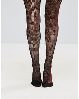 Fishnet Tights In Black With Red Side Stripe