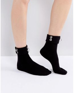 Eyelet And Ring Detail Ankle Socks