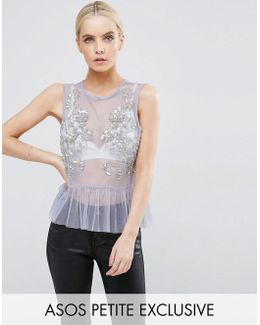 Exclusive Top In Mesh With Pep Hem And Sequin Detail