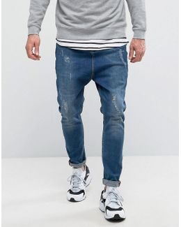 Drop Crotch Jeans With Rip And Repair Detail