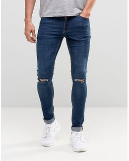 Extreme Super Skinny Jeans With Knee Rips In Dark Wash